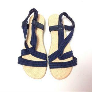 Women Strappy Sandals Size 7 Blue Cream
